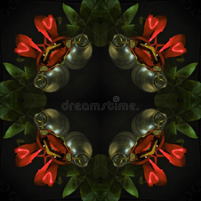 Surreal vierkant patroon - rode rozen op een zwarte achtergrond stock foto