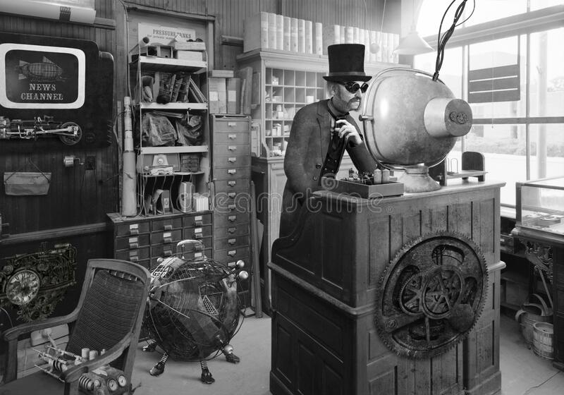 Surreal Vintage Steampunk Retro Technology royalty free stock image