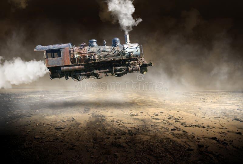 Surreal Vintage Train Locomotive, Flying royalty free stock photos