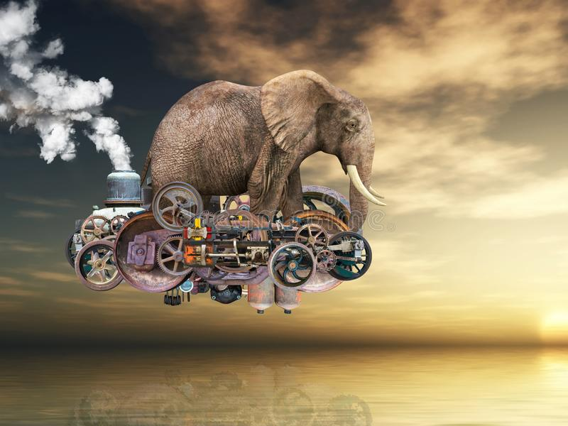 Surreal Vliegende Steampunk-Machine, Olifant royalty-vrije illustratie