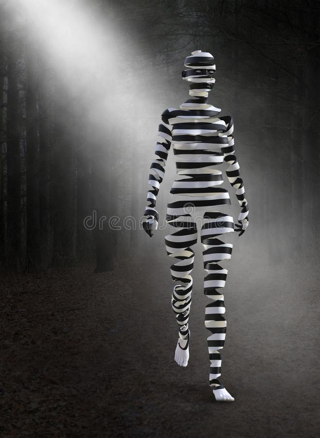 Surreal Woman, Woods, Forest, Zebra. A surreal zebra like woman with peeled skin is walking through a dark forest and woods. Abstract concept for magic royalty free stock photo