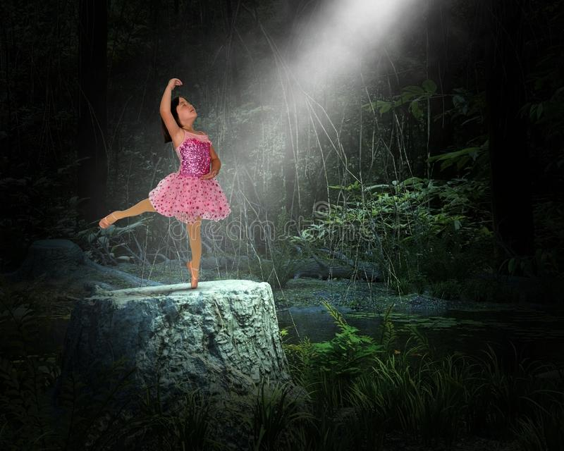 Surreal Young Girl, Nature, Spiritual Rebirth, Dance. A young girl child ballet ballerina dancer is dancing on a tree stump in a surreal dark woods or forest stock images