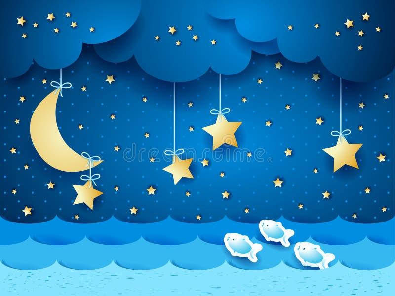 Surreal zeegezicht met maan en sterren stock illustratie