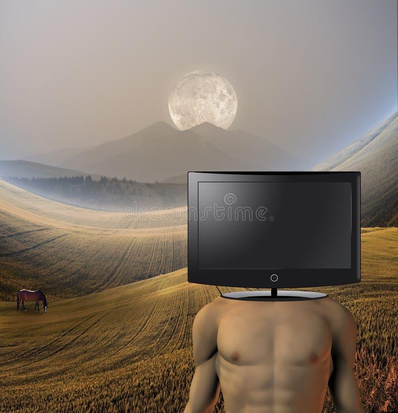 Surreale Abbildung in der ruhigen Landschaft lizenzfreie abbildung