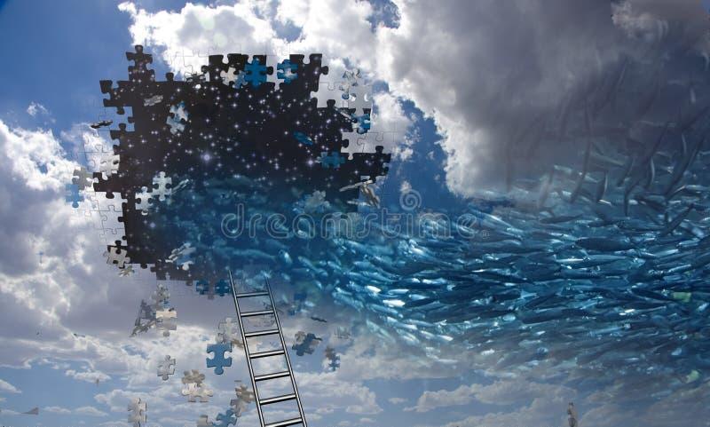 Surreale Fische und Himmel lizenzfreie abbildung