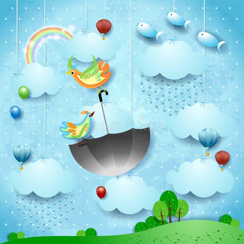 Surreale Landschaft mit Regen, fliegendem Regenschirm und Fischen vektor abbildung