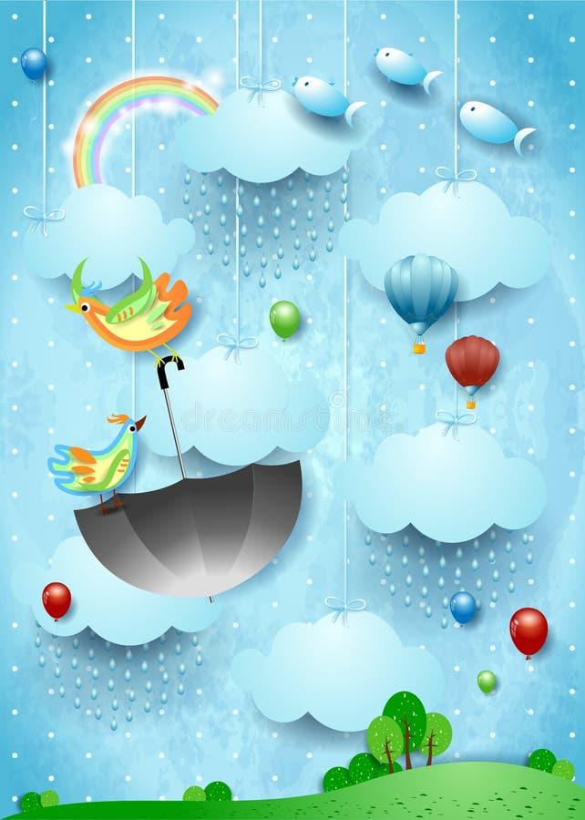 Surreale Landschaft mit Regen, fliegendem Regenschirm und Fischen stock abbildung