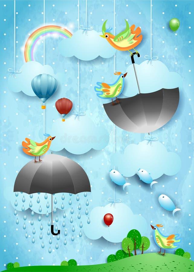 Surreale Landschaft mit Regen, fliegenden Regenschirmen und Fischen lizenzfreie abbildung