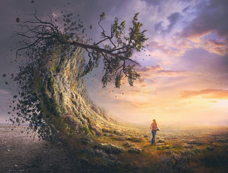 Surreale Landschaft und Frau stockfotos