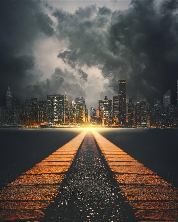 Surreale Landstraße nach New York City lizenzfreies stockfoto
