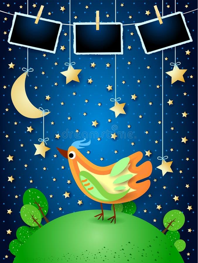 Surreale Nacht mit hängenden Sternen, buntem Vogel und Fotorahmen lizenzfreie abbildung