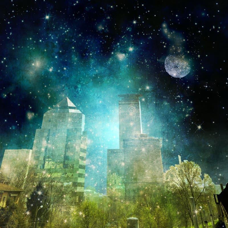 Surreale Stadtskyline in der Nacht mit sternenklarem Himmel lizenzfreie abbildung