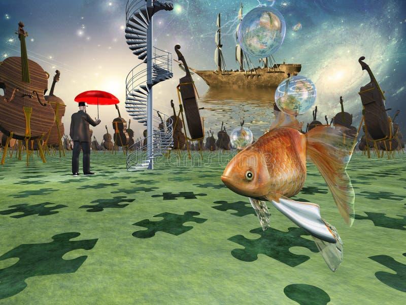 Surreale Szene mit verschiedenen Elementen lizenzfreie abbildung