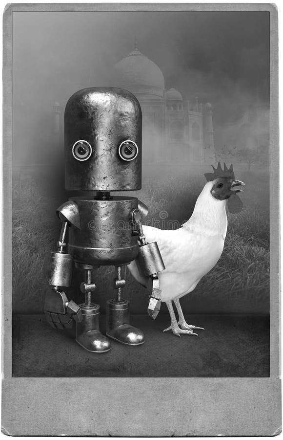 Surreale Weinlese-Fotografie, Roboter, Huhn lizenzfreie abbildung