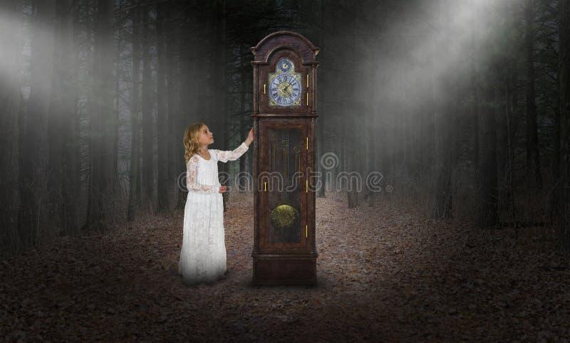 Surreale Zeit, großväterliche Uhr, Mädchen stockbilder