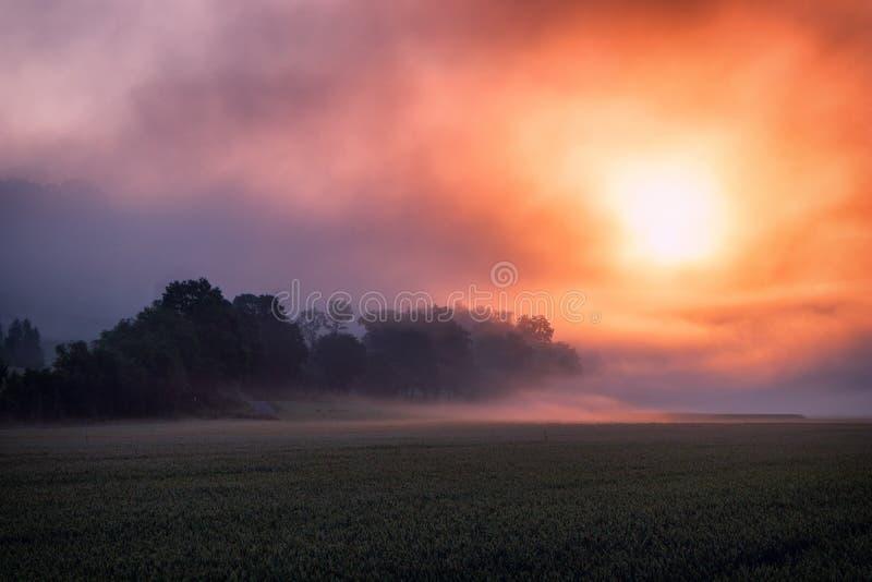 Surrealer brennender Sonnenaufgang lizenzfreie stockbilder