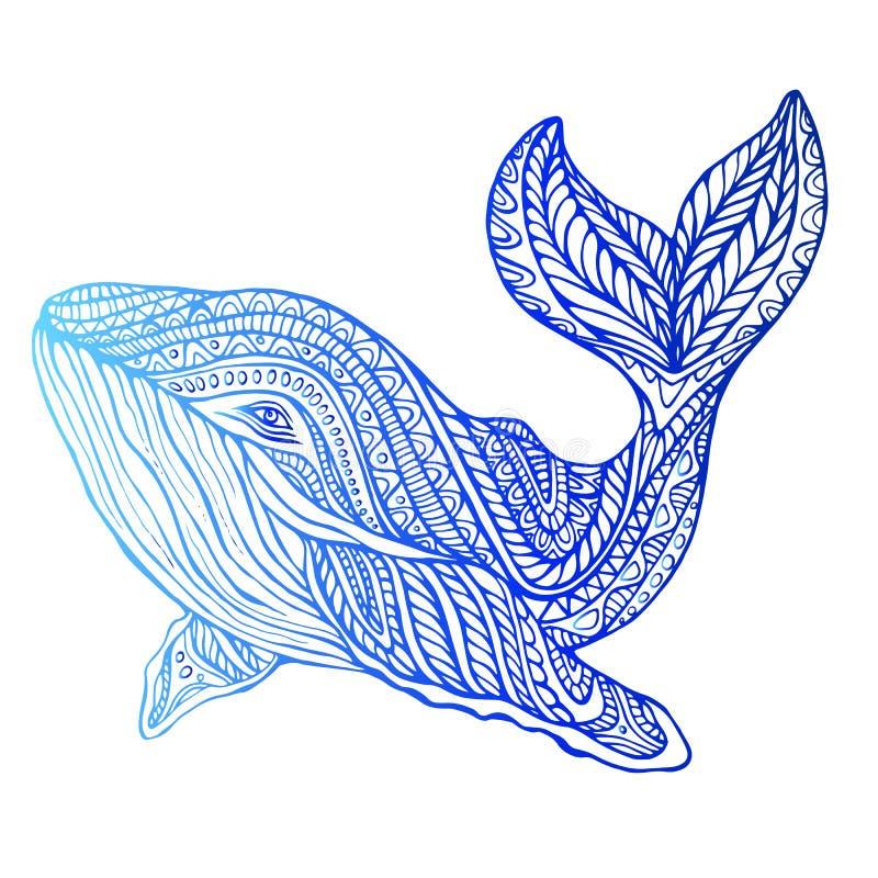 Surrealer dekorativer Wal, psychedelische Weinleseart stock abbildung