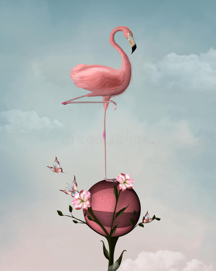 Surrealer Flamingo stock abbildung