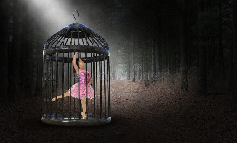Surrealer Gefangener, eingeschlossen, Mädchen, Ballett-Tänzer stockbilder