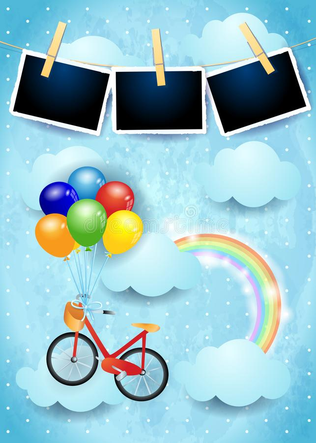 Surrealer Himmel Mit Ballon-, Fahrrad- Und Fotorahmen Vektor ...
