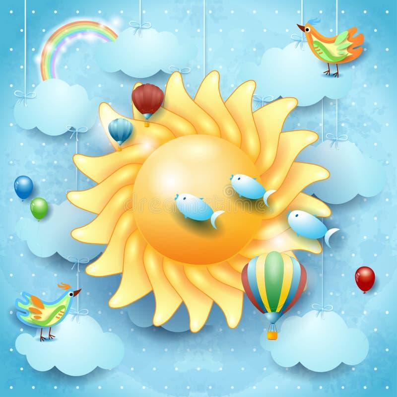 Surrealer Himmel mit großer Sonne, Vogel, Ballonen und fliegendem Fisch lizenzfreie abbildung