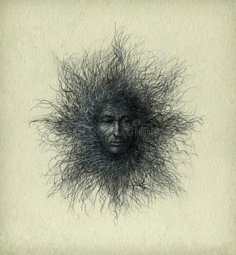 Surrealer Kopf lizenzfreie abbildung