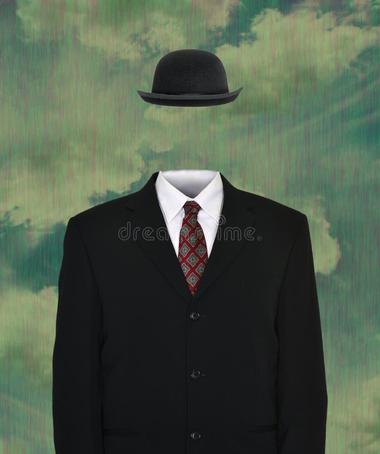 Surrealer leerer Anzug, Derby Hat lizenzfreie stockbilder