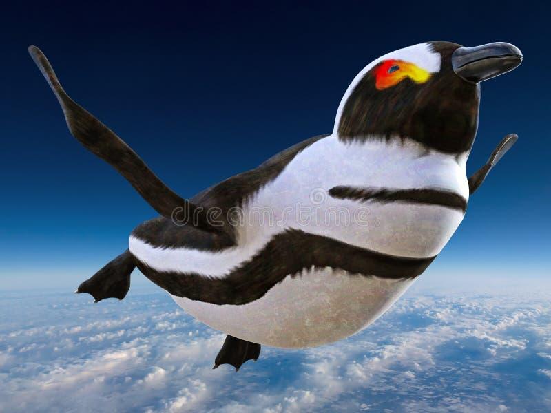 Surrealer lustiger Fliegen-Pinguin, Vogel stockfotos
