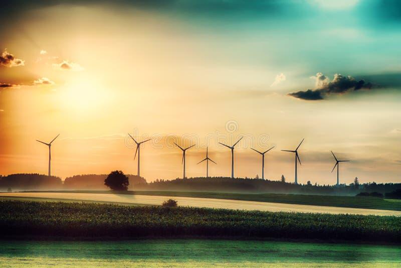 Surrealer Morgensonnenaufgang auf den Feldern mit Windkraftanlagen im Hintergrund lizenzfreie stockbilder