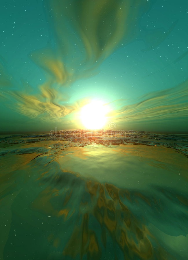 Surrealer Sonnenaufgang lizenzfreie abbildung