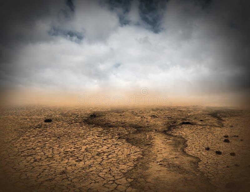 Surrealer trostloser Desrt-Landschaftshintergrund lizenzfreies stockbild