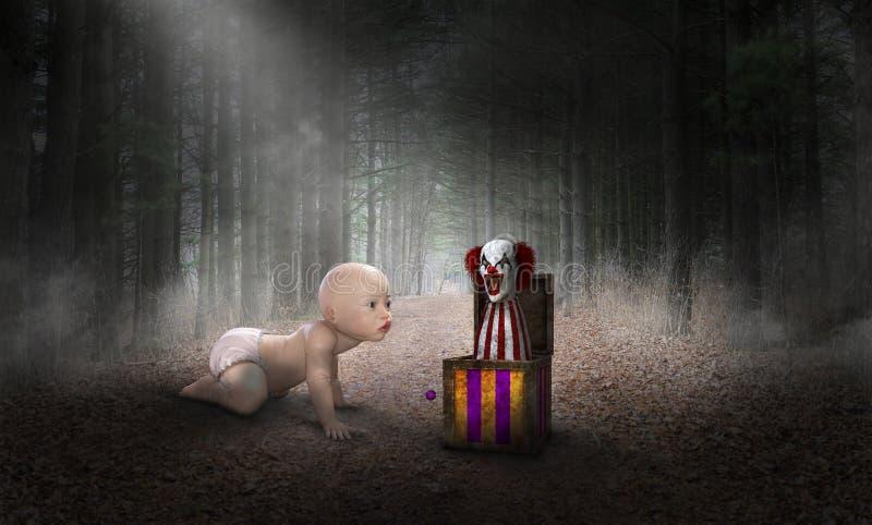 Surreales Baby, Clown, Wald, Gefahr stockbilder