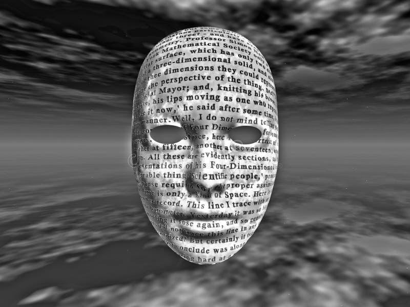 Surreales Gesicht mit Text stock abbildung