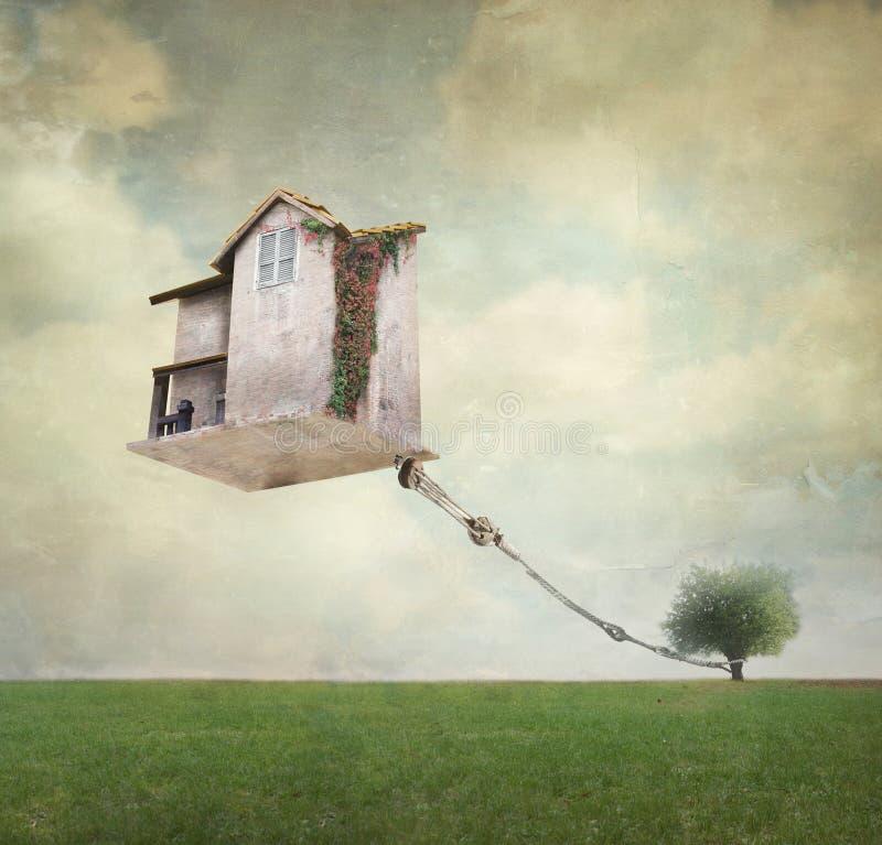 Surreales Haus lizenzfreie abbildung