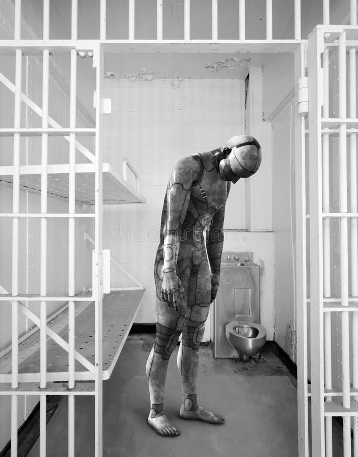Surreales Roboter-Gefängnis, Gefängnis, Gefangenschaft stockfoto
