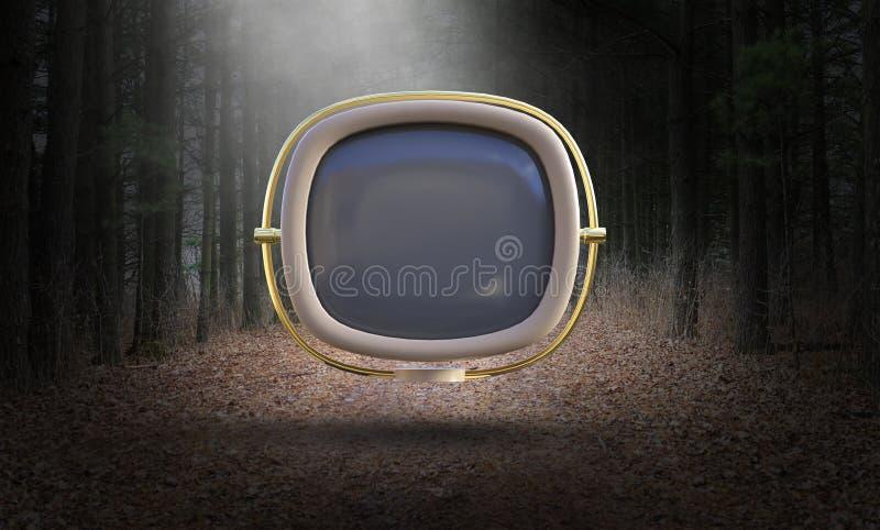 Surreales Weinlese Fernsehen, Fernsehen, Retro-, Natur stock abbildung