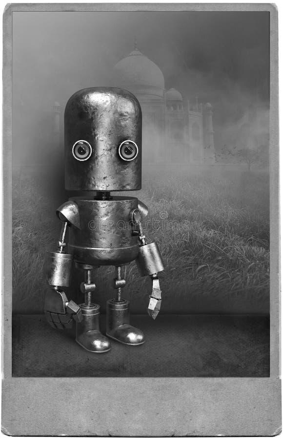 Surreales Weinlese-Roboter-Porträt, mechanischer Mann lizenzfreie abbildung