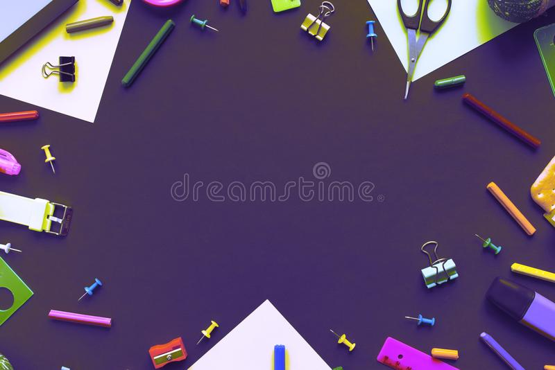 Surrealism Concept back to school apple backpack stationery on black background. Top view Flat lay stock photography