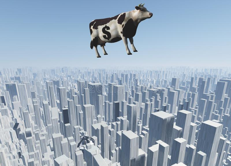 Cow. Surrealism. 3D render. Cow with dollar sign flies over futuristic megapolis royalty free illustration