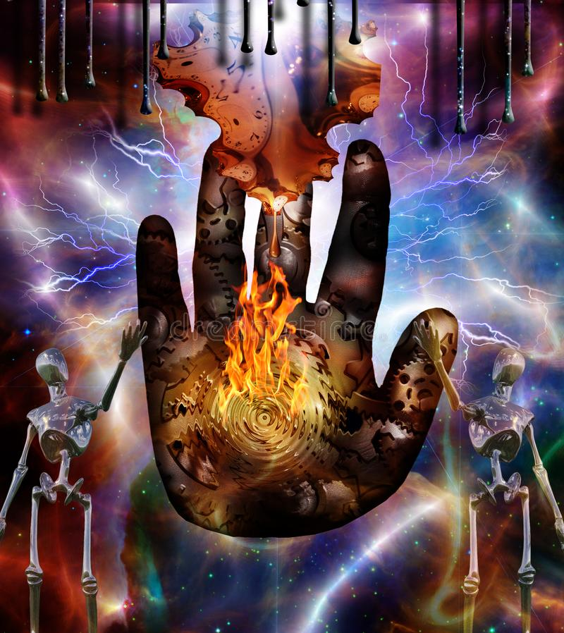 Time machine. Surrealism. Human`s palm with gears and flame in colorful universe. Figures of robots stands nearby. Melted clock in Dali style royalty free illustration