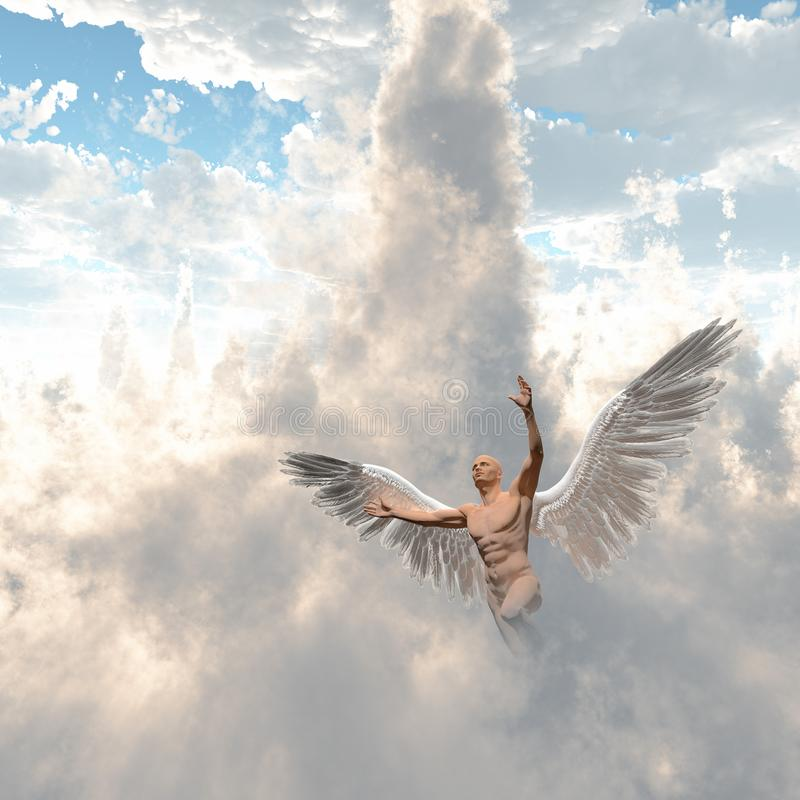 Angel. Surrealism. Man with angel`s wings flies in cloudy sky. Human elements were created with 3D software and are not from any actual human likenesses stock illustration