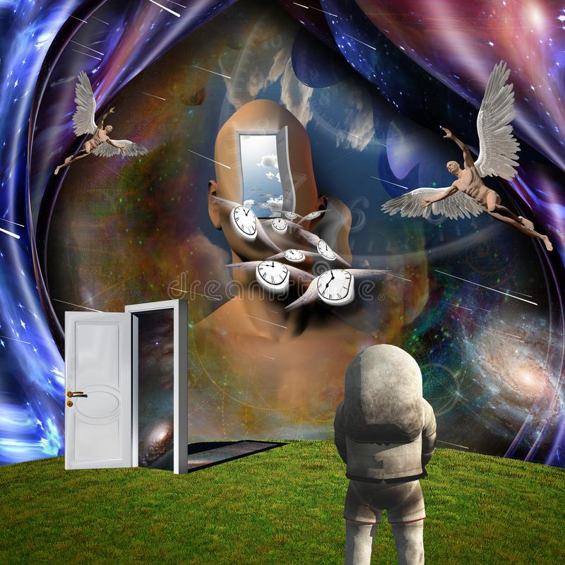Flow of Time. Surrealism. Man`s head with opened door to another world. Naked man with wings represents angel. Winged clocks symbolizes flow of time. Astronaut vector illustration