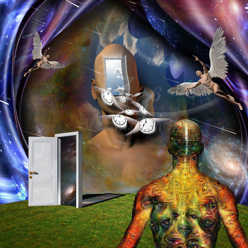 Angels and Flow of time. Surrealism. Man`s head with opened door to another world. Naked man with wings represents angel. Winged clocks symbolizes flow of time royalty free illustration