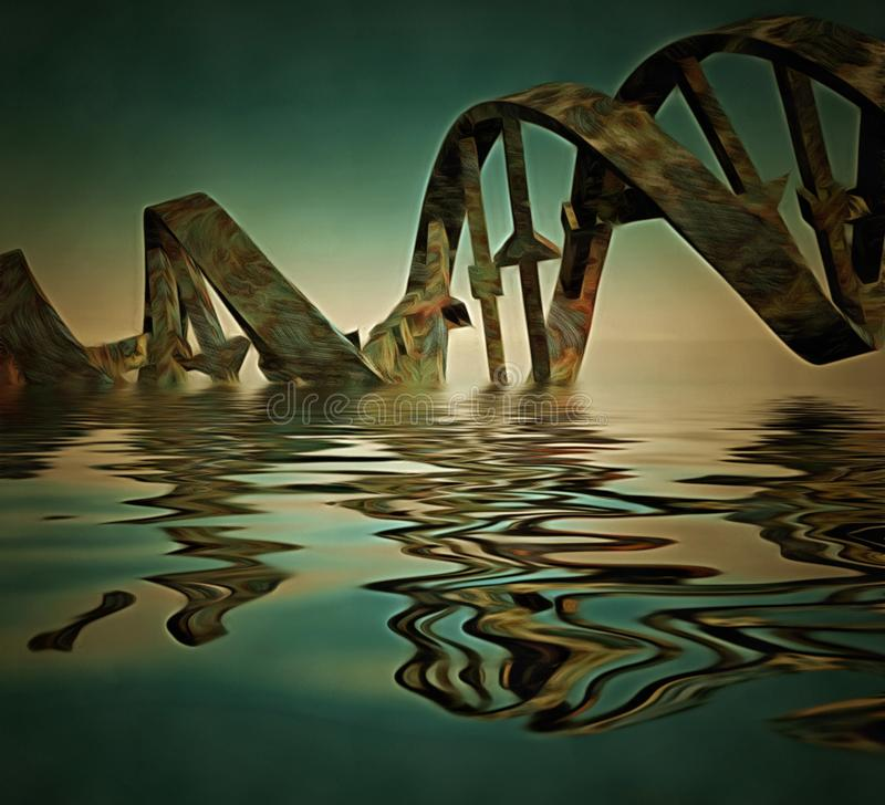 DNA chain. Surrealism. Rusted DNA chain in water royalty free illustration
