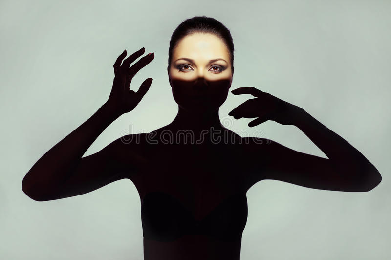 Download Surrealistic Young Lady With Shadow On Her Body Stock Image - Image: 29746541