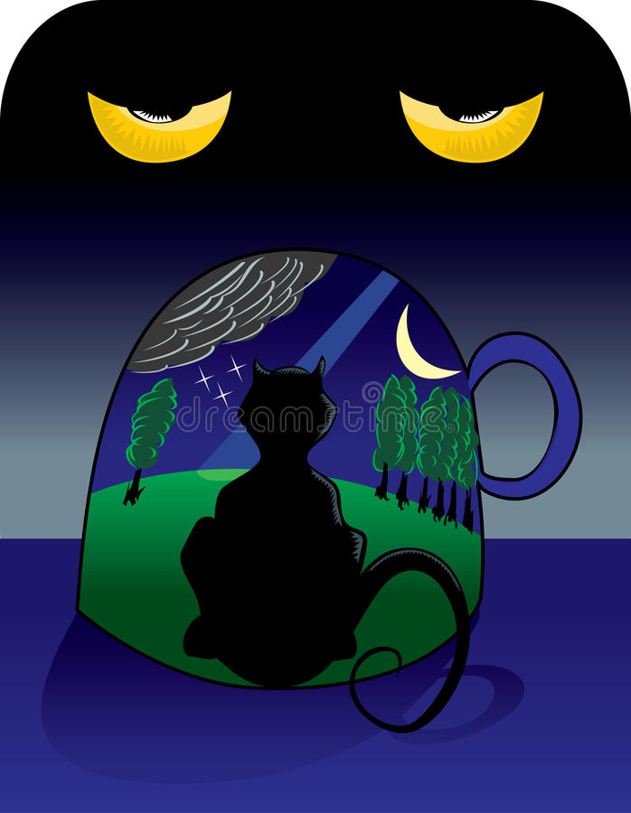 Download Surrealistic Cat Inside A Cup Stock Vector - Image: 20372312