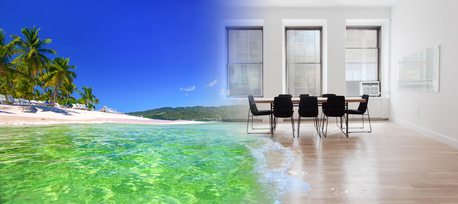 Surrealistic collage of the tropical sea and office space royalty free stock photos