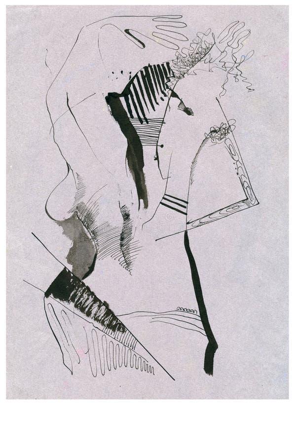 Surrealistic erotic figure royalty free illustration