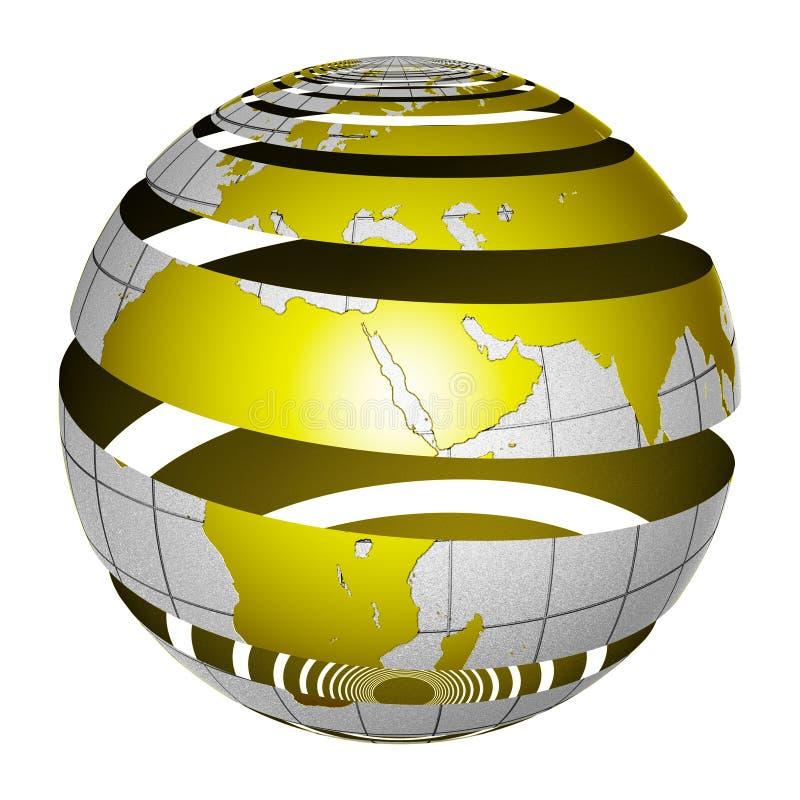 surrealistic jordklotskalning för jord 3d stock illustrationer