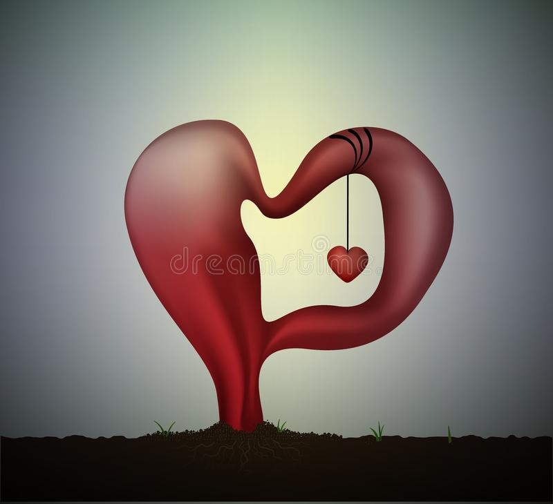Surrealistic love idea or concept, Salvador Dali icon of love, soft red heart with small red heart inside, monument of vector illustration